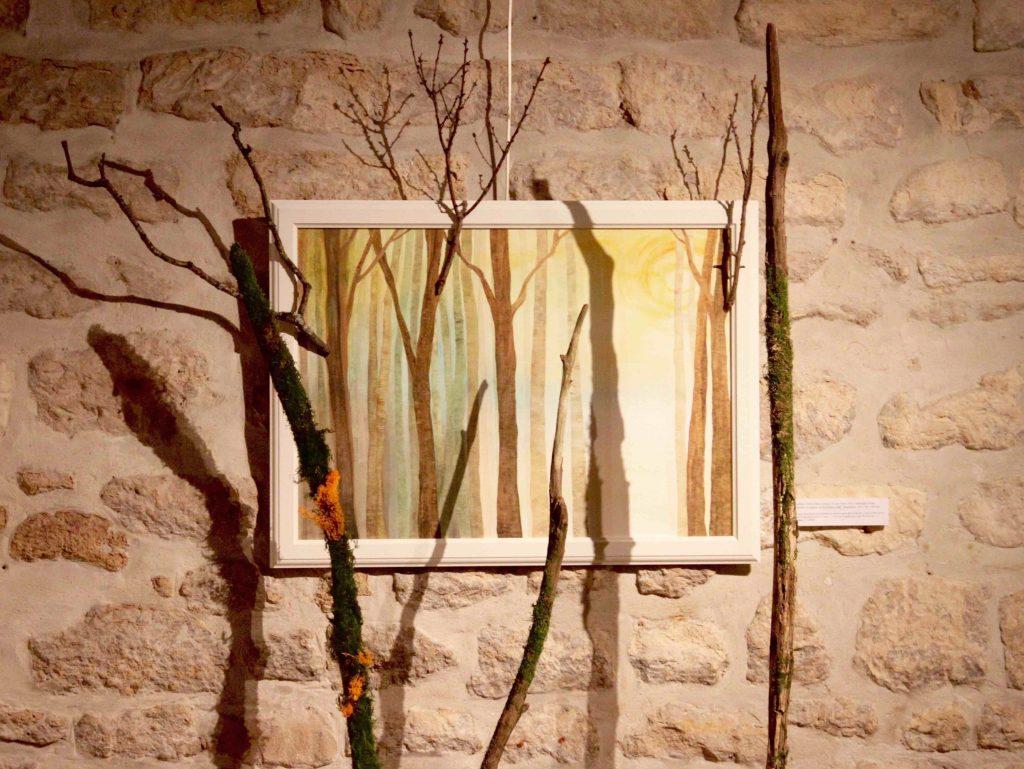petit d JE PARCOURS LA VIE 1_aquarelle sur papier avec installation des branches_58x78cm_2017 copy