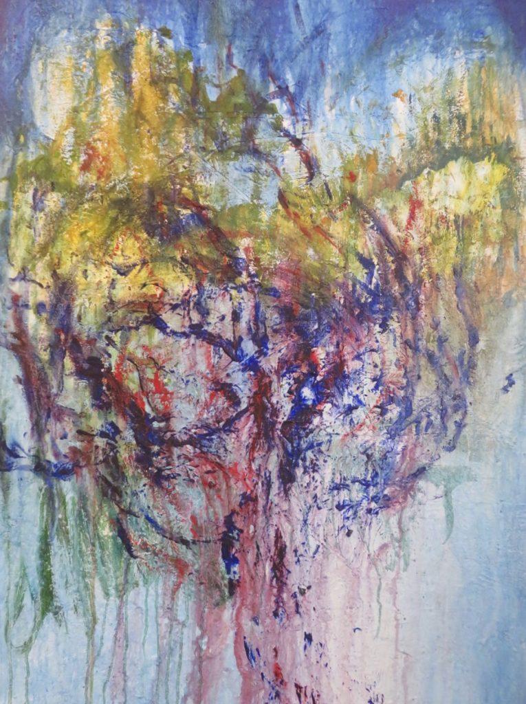 L'ARBRE DE MA VIE. encre, acrylique, feuilles séchés, colle sur toile, 150x100cm